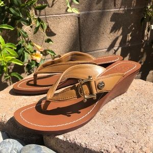 Tory Burch Leather Thong Wedge Sandals Sz 6M